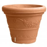festonato double wall pot pale terracotta colour