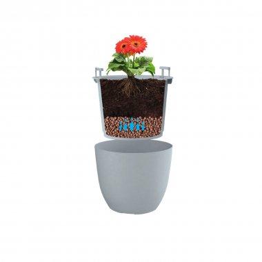 Pot en plastique avec bac intégré