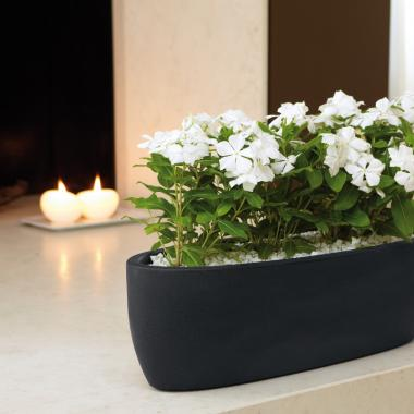 resin oval planter iris slate colour